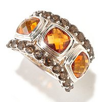 SS CUSHION TOP CUT MADEIRA CITRINE WITH SMK RING