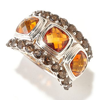 125-194 - Gem Insider Sterling Silver 3.84ctw Madeira Citrine & Smoky Quartz Ring