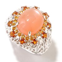 SS ORANGE MOONSTONE RING WITH MAD CITRINE
