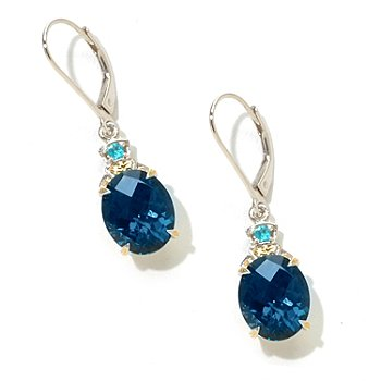 125-203 - Gems en Vogue II 11 x 9mm Checkerboard Cut Gemstone Drop Leverback Earrings