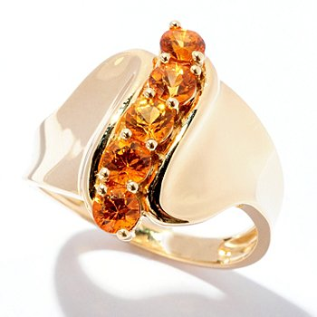 125-235 - Gem Treasures 14K Gold 1.00ctw Orange Sapphire Curved Ring