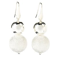 SEMPRESILVER PAVE & POLISHED BEAD EARRINGS