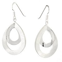 SEMPRESILVER SATIN/POLISHED DROP EARRINGS