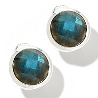 SEMPRESILVER OVAL STONE BUTTON EARRINGS