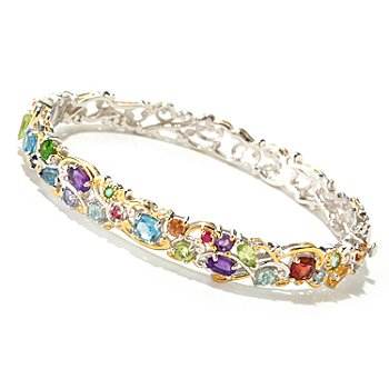 125-257 - Gems en Vogue II 4.13ctw Multi Gemstone ''Carnaval'' Hinged Bangle Bracelet