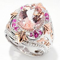 SS/PALL RING MORGANITE & PINK SAPH