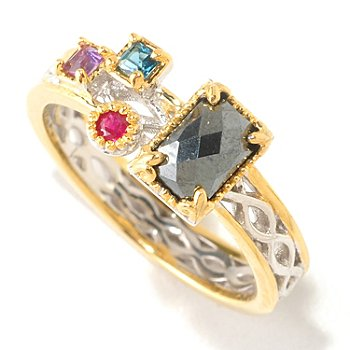 125-260 - Gems en Vogue II Hematite & Multi Gemstone ''Mini Manhattan'' Stack Band Ring