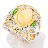 SS/PALL RING ETHIOPIAN OPAL & CHROME DIOPSIDE WIDE BAND