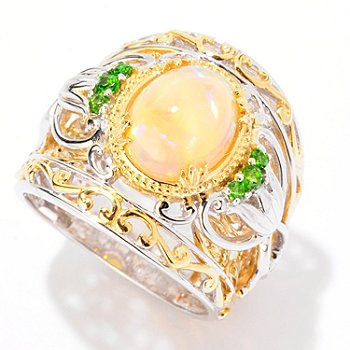 125-264 - Gems en Vogue II 1.88ctw Ethiopian Opal & Chrome Diopside Wide Band Ring