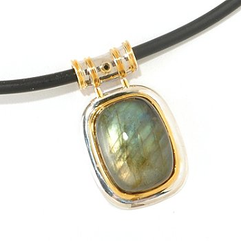125-267 - Men's en Vogue II 20 x 15mm Labradorite & Black Diamond Pendant Necklace