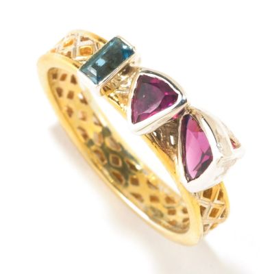 125-274 - Gems en Vogue II Rhodolite Trillion & London Blue Topaz Baguette Stack Band Ring