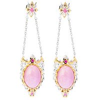 SS/PALL EAR KUNZITE CABOCHON & PINK SAPH REMOVABLE DROP