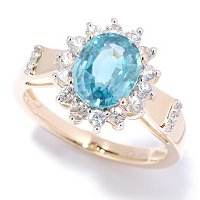 14K YG NEON BLUE ZIRCON WITH WHITE SAPP FRAME RING