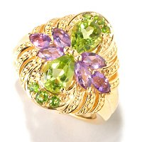 SS/P RING PERIDOT, AMETHYST & CHROME DIOP