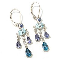 SS/P EAR KYANITE, SWISS, IOLITE, LONDON & WHT TOPAZ CHANDELIER
