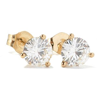 125-334 - Estrella Moissanite 14K Gold Round Martini Stud Earrings