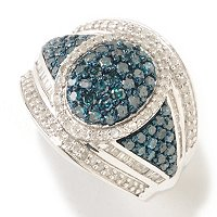 SS PAVE OVAL BLUE AND WHITE DIAMOND RING