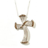SS MOCHA DIAMOND CROSS WITH CHAIN