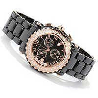 SONIA SS/CHOICE LUNETTE CERAMIC FLOATING STONES WATCH