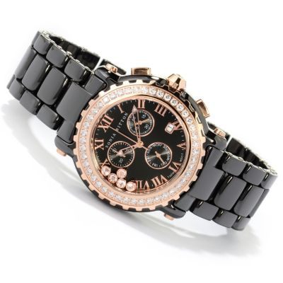 125-363 - Sonia Bitton Women's Simulated Diamond Lunette Swiss Chronograph Bracelet Watch