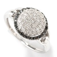 SS ROUND PAVE WITH BLK DIAMOND FRAME