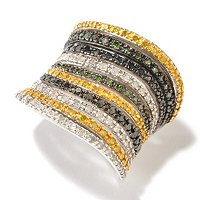 SS WIDE BAND WITH MULTI FANCY DIAMOND RING