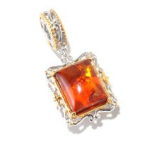 SS/PALL CHARM BALTIC AMBER CUSHION DROP