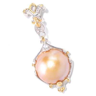 125-376 - Gems en Vogue II Golden Mabe Cultured Pearl & White Sapphire Drop Charm