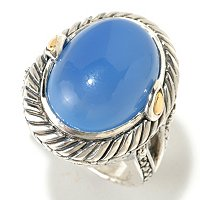 SS/18K OVAL BLUE CHALCEDONY CENTER RING