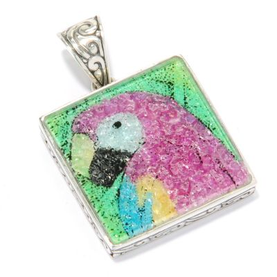 125-405 - Artisan Silver by Samuel B. Crushed Multi Gemstone Tiger Pendant
