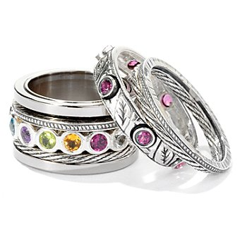 125-415 - Artisan Silver by Samuel B. Multi Gemstone ''Build a Ring''