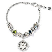 SS/18K BEAD BRACELET W/WATCH CHARM