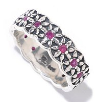 SS GEM CENTER FLOWER BAND RING
