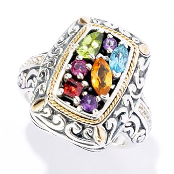 125-430 - Artisan Silver by Samuel B. Polished Multi Gemstone Ring