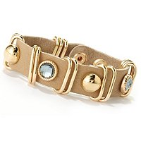 TALLEY ADJUSTABLE LEATHER BRACELET WITH FACETETD CRYSTAL AND METAL ACCENTS