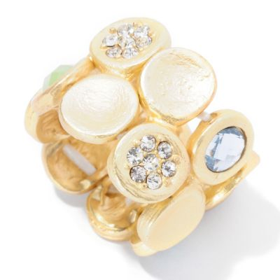"125-433 - Meghan Browne Style Round Crystal ""Avry"" Stretch Ring"