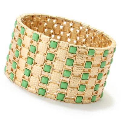 "125-435 - Meghan Browne Style 7"" Gold-tone & Green Station ""Shannon"" Stretch Bracelet"