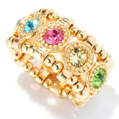 "125-439 - Meghan Browne Style Faceted Round Crystal ""Madison"" Stretch Ring"