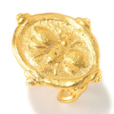 "125-444 - Meghan Browne Style Gold-tone Adjustable ""Christen Bee"" Ring"