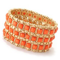 GOLDTONE/ORANGE STETCH BRACELET