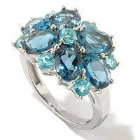 SS/PLAT RING LONDON BLUE TOPAZ & APATITE