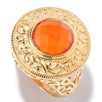 SS/18KGP RING ROSE-CUT GEMSTONE