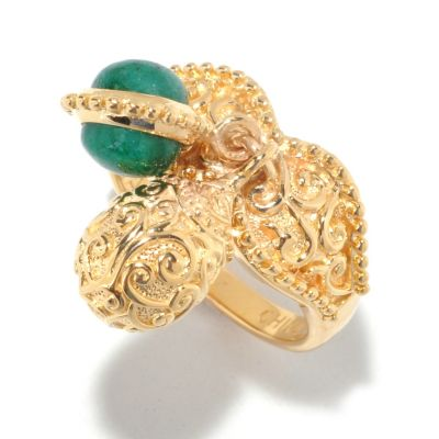 125-461 - Jaipur Bazaar Gold Embraced™ 2.21ctw Dyed Emerald & Charm Drop Ring