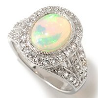 SS ETHIOPIAN OPAL WITH WHT SAPP RING