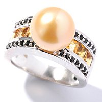 SS 10-11mm GOLDEN SOUTH SEA BUTTON PEARL, YELLOW TOURMALINE BLACK SPINEL RING