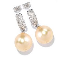 SS 10-11mm GOLDEN SOUTH SEA PEARL & DIAMOND EARRINGS