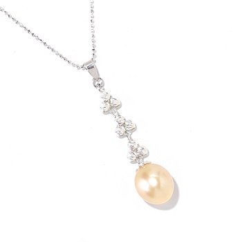 125-483 - Sterling Silver 9-10mm Golden South Sea Cultured Pearl Sparkle Pendant