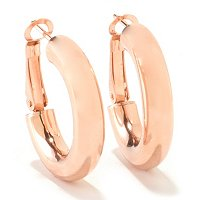 SS/18KGP EAR HIGH-POLISHED ROUND HOOP w/ OMEGA BACK