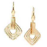 SS/18KGP EAR MULTI TEXTURED DIAMOND-SHAPED DROP