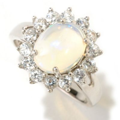 125-497 - Gem Insider Sterling Silver 10 x 8mm Opal & White Zircon Ring